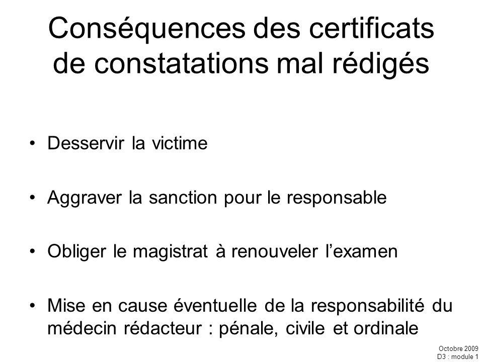 Octobre 2009 D3 : module 1 Conséquences des certificats de constatations mal rédigés Desservir la victime Aggraver la sanction pour le responsable Obl