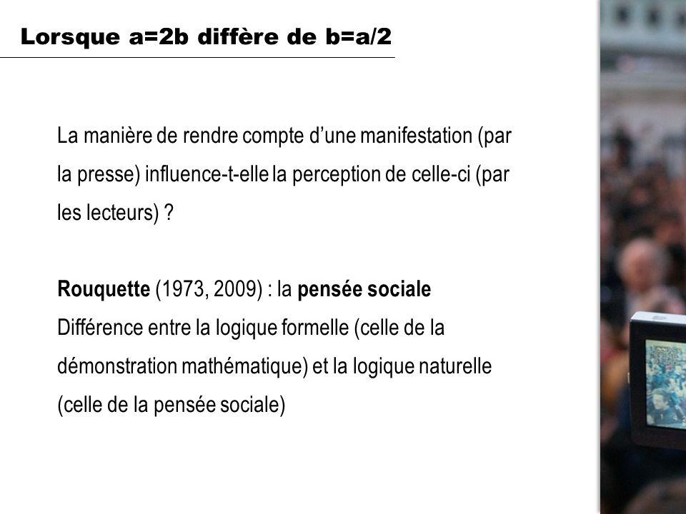 à partir dun article fictif : cadrage (de type positif : « 5 fois plus de manifestants selon les organisateurs que selon la police » vs de type négatif : « 5 fois moins de manifestants selon la police que selon les organisateurs ») fin positive ou négative de la manifestation Variables indépendantes Lorsque a=2b diffère de b=a/2 Mathématiquement si a = 2 x b alors b = a / 2 Psychologiquement...