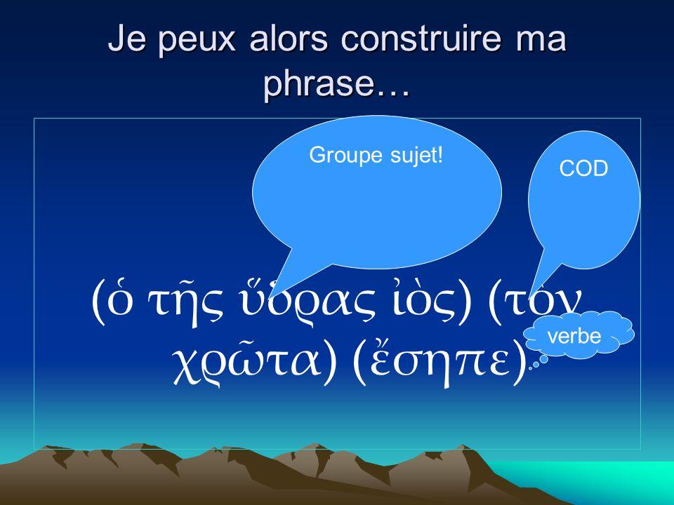 Je peux alors construire ma phrase… ( τς δρας ς) (τν χρτα) (σηπε) Groupe sujet! verbe COD