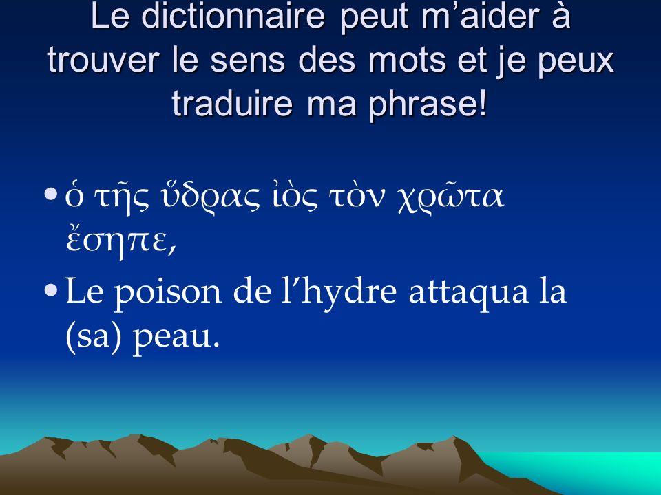Le dictionnaire peut maider à trouver le sens des mots et je peux traduire ma phrase.