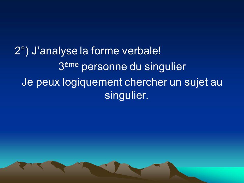 2°) Janalyse la forme verbale.