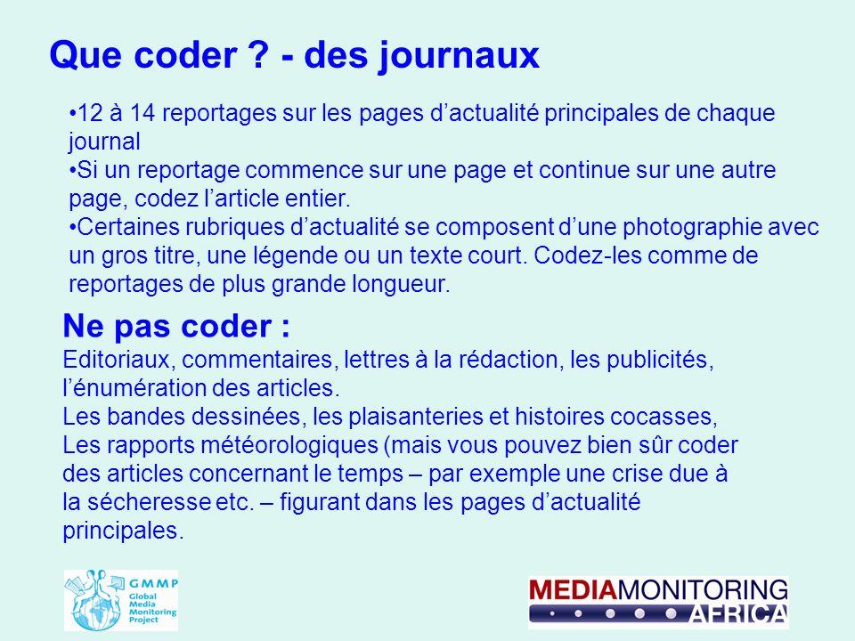 12 à 14 reportages sur les pages dactualité principales de chaque journal Si un reportage commence sur une page et continue sur une autre page, codez