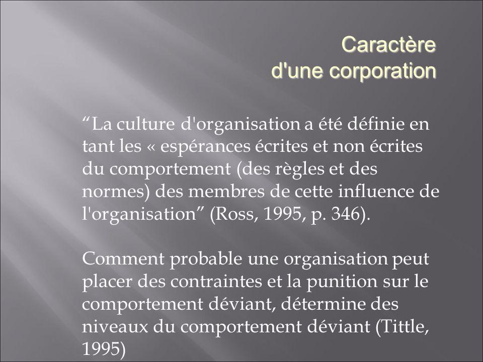 La culture d organisation a été définie en tant les « espérances écrites et non écrites du comportement (des règles et des normes) des membres de cette influence de l organisation (Ross, 1995, p.