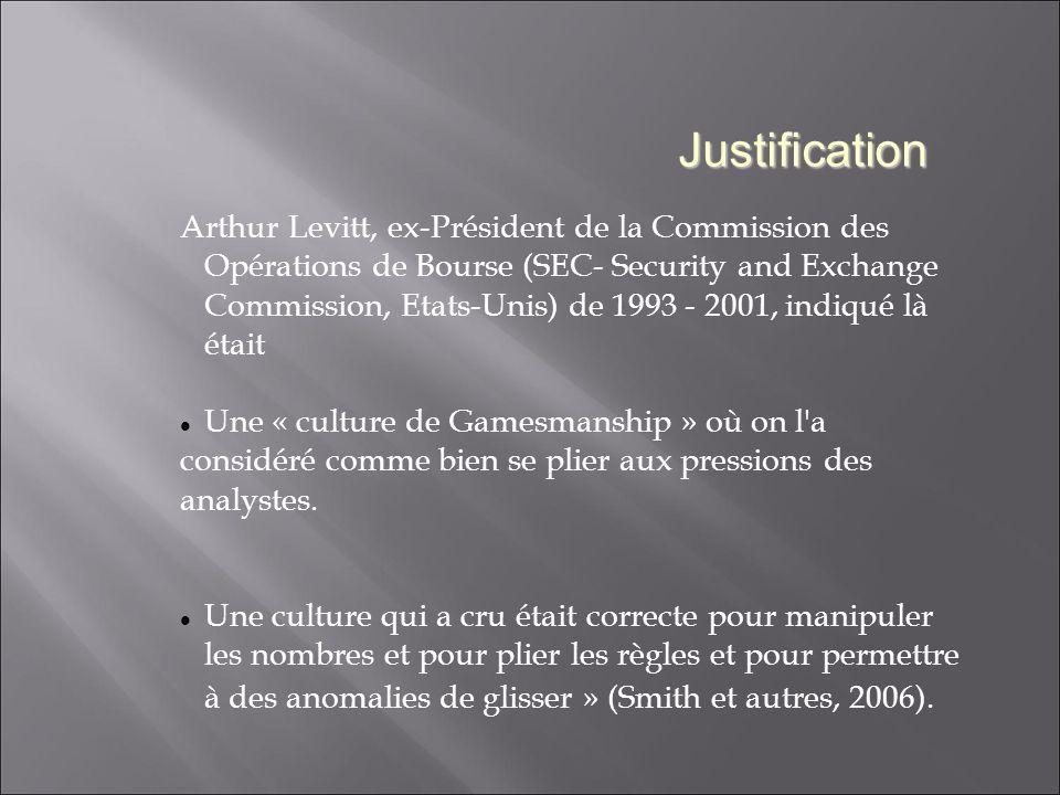Justification Arthur Levitt, ex-Président de la Commission des Opérations de Bourse (SEC- Security and Exchange Commission, Etats-Unis) de 1993 - 2001