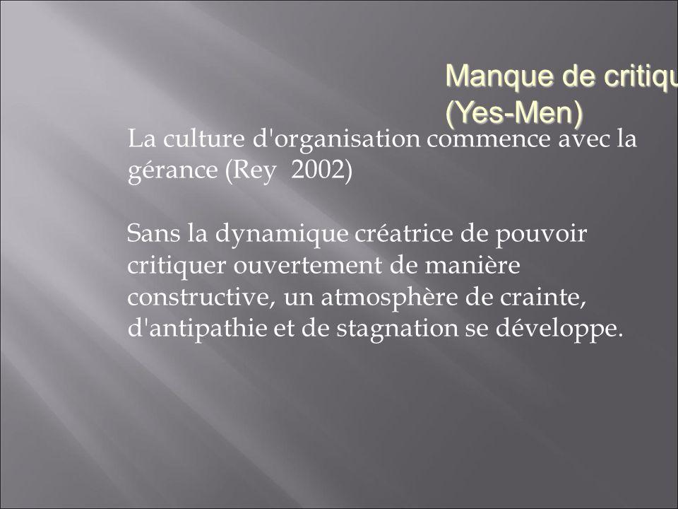 La culture d organisation commence avec la gérance (Rey 2002) Sans la dynamique créatrice de pouvoir critiquer ouvertement de manière constructive, un atmosphère de crainte, d antipathie et de stagnation se développe.