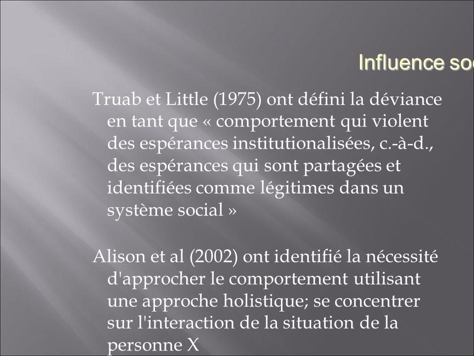 Truab et Little (1975) ont défini la déviance en tant que « comportement qui violent des espérances institutionalisées, c.-à-d., des espérances qui sont partagées et identifiées comme légitimes dans un système social » Alison et al (2002) ont identifié la nécessité d approcher le comportement utilisant une approche holistique; se concentrer sur l interaction de la situation de la personne X Influence sociale