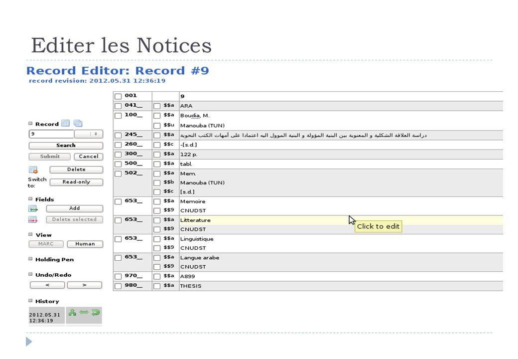 Editer les Notices