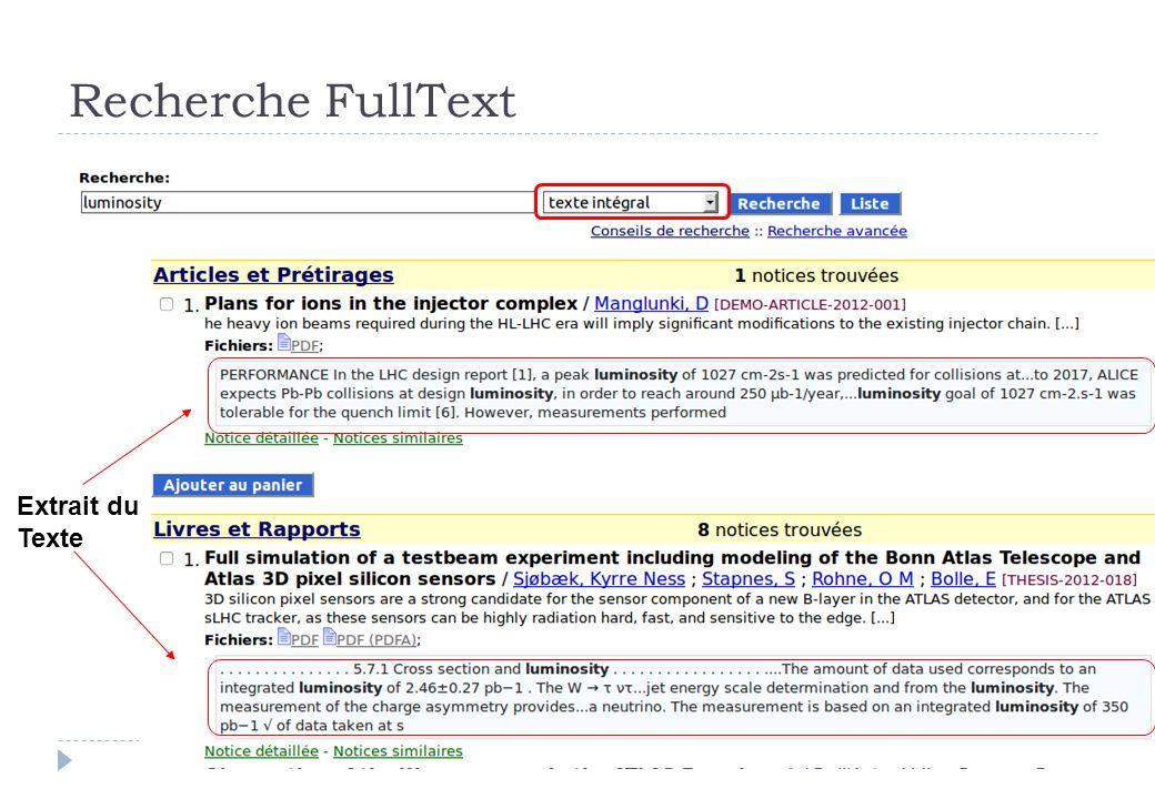 Recherche FullText Extrait du Texte