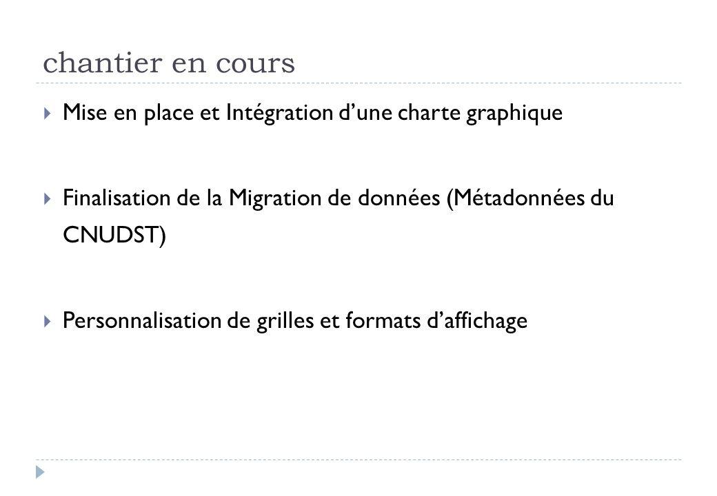 chantier en cours Mise en place et Intégration dune charte graphique Finalisation de la Migration de données (Métadonnées du CNUDST) Personnalisation de grilles et formats daffichage