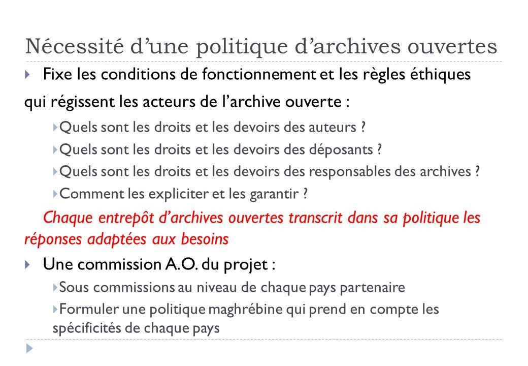 Nécessité dune politique darchives ouvertes Fixe les conditions de fonctionnement et les règles éthiques qui régissent les acteurs de larchive ouverte : Quels sont les droits et les devoirs des auteurs .