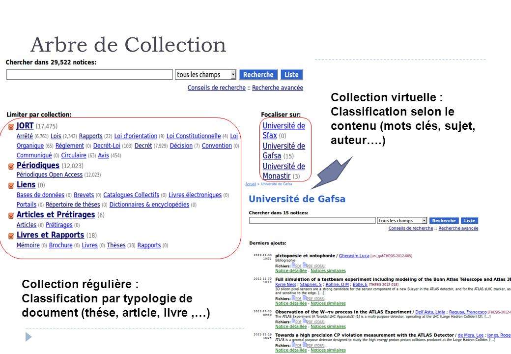 Arbre de Collection Collection régulière : Classification par typologie de document (thése, article, livre,…) Collection virtuelle : Classification se