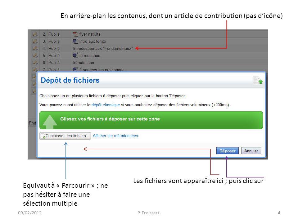 09/02/2012P. Froissart.4 En arrière-plan les contenus, dont un article de contribution (pas dicône) Equivaut à « Parcourir » ; ne pas hésiter à faire