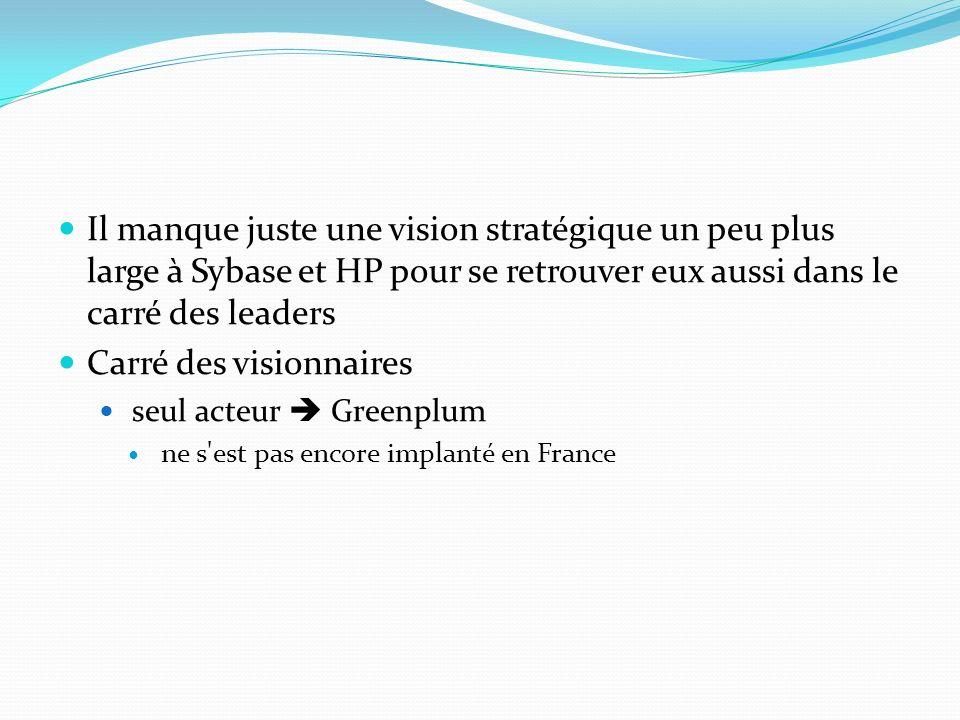 Il manque juste une vision stratégique un peu plus large à Sybase et HP pour se retrouver eux aussi dans le carré des leaders Carré des visionnaires seul acteur Greenplum ne s est pas encore implanté en France