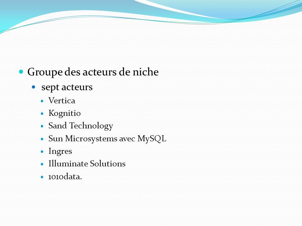 Groupe des acteurs de niche sept acteurs Vertica Kognitio Sand Technology Sun Microsystems avec MySQL Ingres Illuminate Solutions 1010data.
