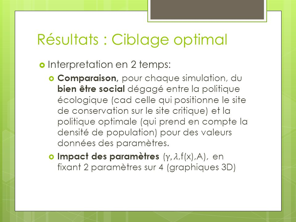 Résultats : Ciblage optimal