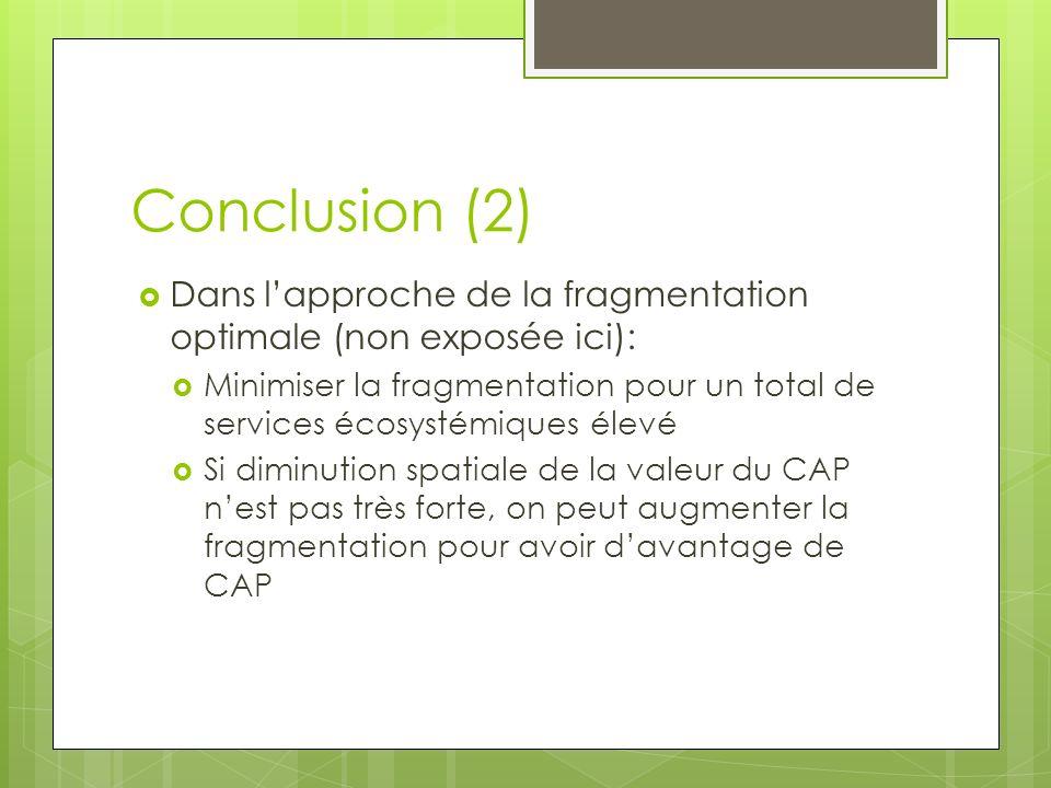 Conclusion (2) Dans lapproche de la fragmentation optimale (non exposée ici): Minimiser la fragmentation pour un total de services écosystémiques élev