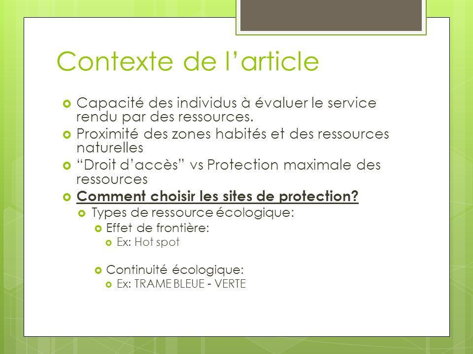 Contexte de larticle Capacité des individus à évaluer le service rendu par des ressources. Proximité des zones habités et des ressources naturelles Dr