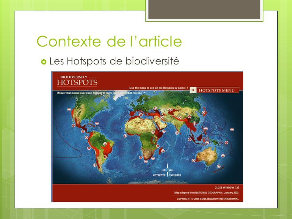 Contexte de larticle Les Hotspots de biodiversité