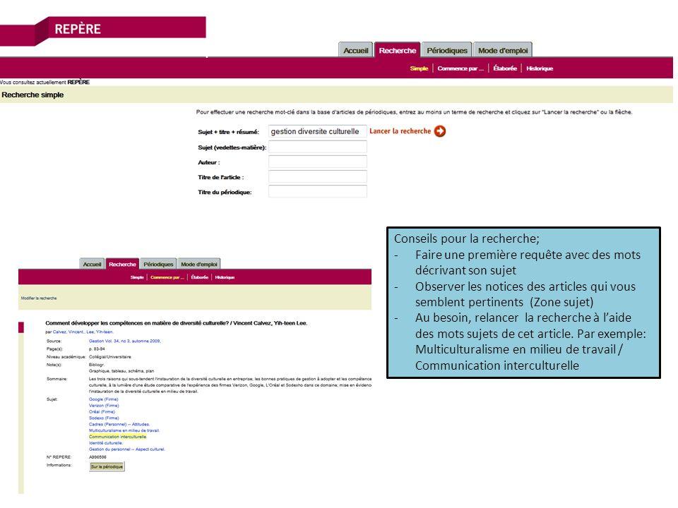 Conseils pour la recherche; -Faire une première requête avec des mots décrivant son sujet -Observer les notices des articles qui vous semblent pertinents (Zone sujet) -Au besoin, relancer la recherche à laide des mots sujets de cet article.