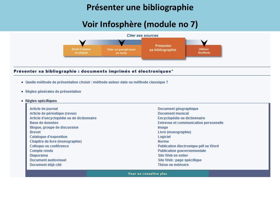 Présenter une bibliographie Voir Infosphère (module no 7)