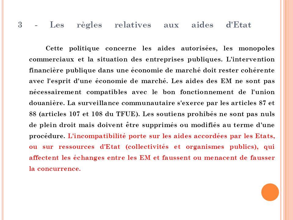 3 - Les règles relatives aux aides d'Etat Cette politique concerne les aides autorisées, les monopoles commerciaux et la situation des entreprises pub