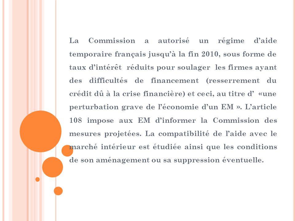 La Commission a autorisé un régime daide temporaire français jusquà la fin 2010, sous forme de taux dintérêt réduits pour soulager les firmes ayant de