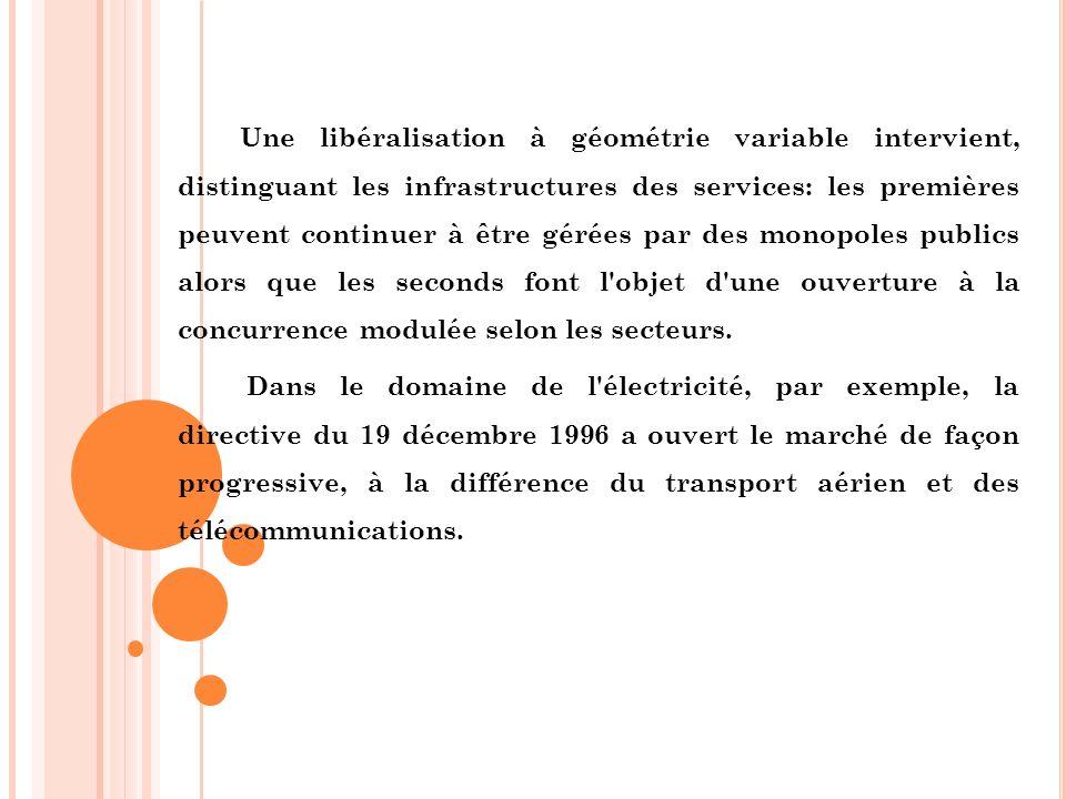 Une libéralisation à géométrie variable intervient, distinguant les infrastructures des services: les premières peuvent continuer à être gérées par de
