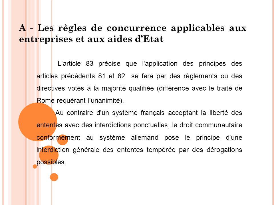 A - Les règles de concurrence applicables aux entreprises et aux aides dEtat L'article 83 précise que l'application des principes des articles précéde