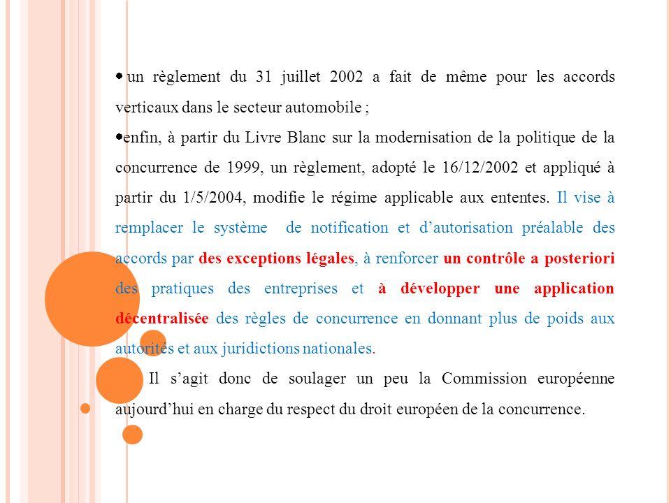 un règlement du 31 juillet 2002 a fait de même pour les accords verticaux dans le secteur automobile ; enfin, à partir du Livre Blanc sur la modernisa