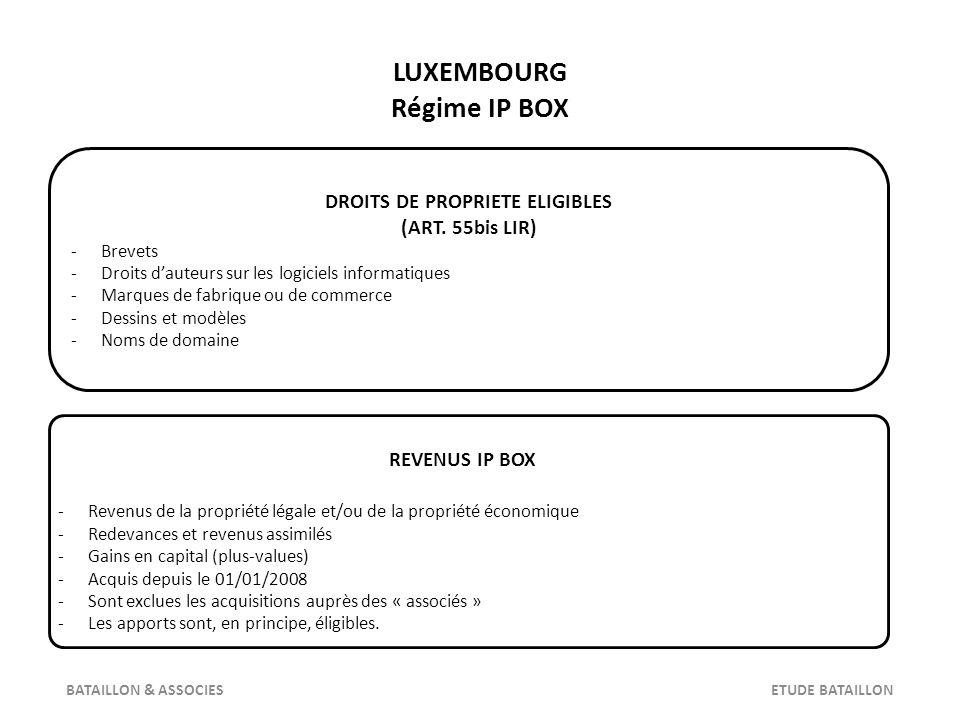 LUXEMBOURG Régime IP BOX DEPENSES IMMOBILISEES -Prix dacquisition ou de revient -Salaires et dépenses de R & D -Quote-part de frais généraux BATAILLON & ASSOCIES ETUDE BATAILLON CHARGES DEDUCTIBLES -Déduction notionnelle liée à linventeur -Crédits pour impôts étrangers -Certains amortissements -Certains frais financiers GAINS ET PERTES -Imposition des gains sur 20 % de leurs montants -Déductibilité à 100 % des pertes -Exonération à 100 % de limpôt sur la fortune
