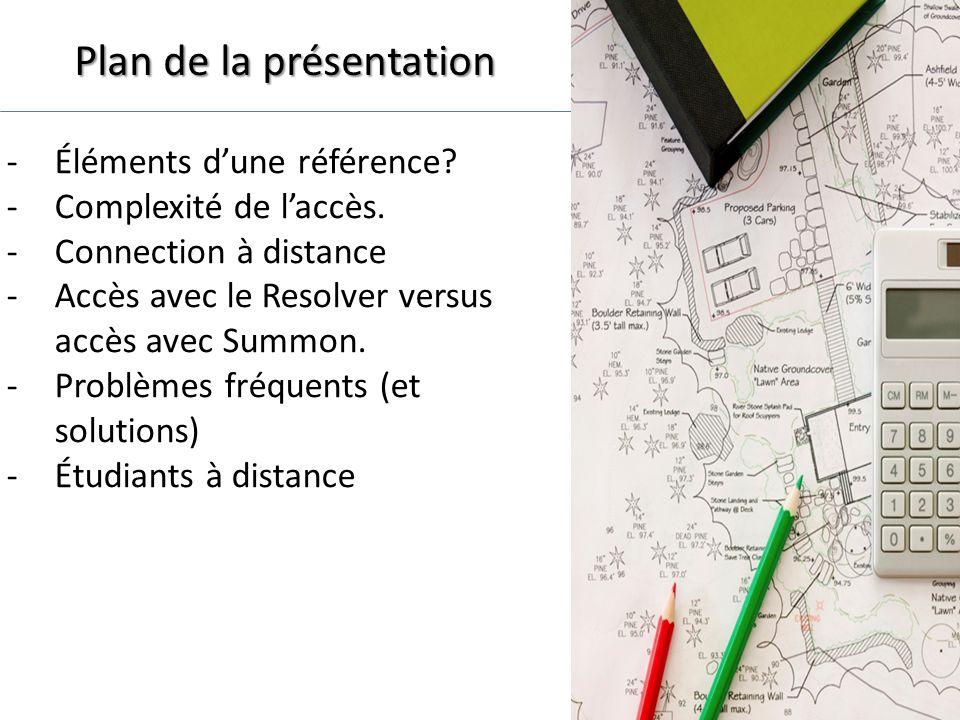 Plan de la présentation -Éléments dune référence. -Complexité de laccès.