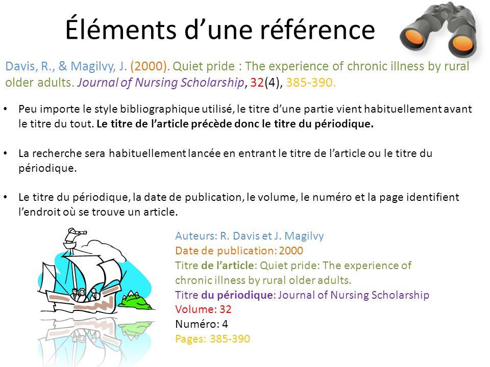 Éléments dune référence Davis, R., & Magilvy, J. (2000).
