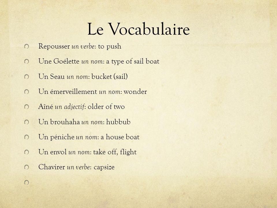 Le Vocabulaire Repousser un verbe : to push Une Goélette un nom : a type of sail boat Un Seau un nom : bucket (sail) Un émerveillement un nom : wonder