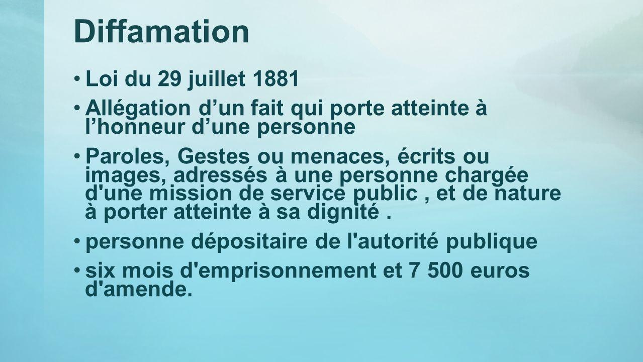 Diffamation Loi du 29 juillet 1881 Allégation dun fait qui porte atteinte à lhonneur dune personne Paroles, Gestes ou menaces, écrits ou images, adres