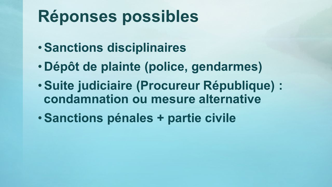Réponses possibles Sanctions disciplinaires Dépôt de plainte (police, gendarmes) Suite judiciaire (Procureur République) : condamnation ou mesure alte