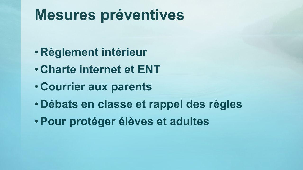 Mesures préventives Règlement intérieur Charte internet et ENT Courrier aux parents Débats en classe et rappel des règles Pour protéger élèves et adul