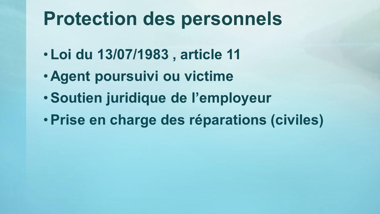 Protection des personnels Loi du 13/07/1983, article 11 Agent poursuivi ou victime Soutien juridique de lemployeur Prise en charge des réparations (ci
