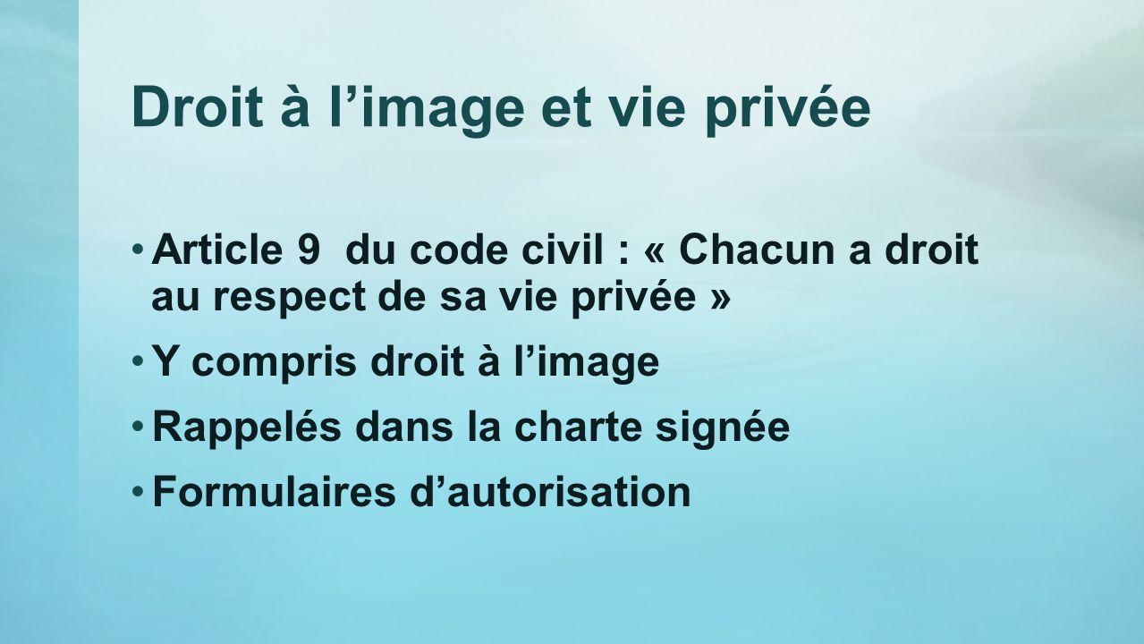 Droit à limage et vie privée Article 9 du code civil : « Chacun a droit au respect de sa vie privée » Y compris droit à limage Rappelés dans la charte