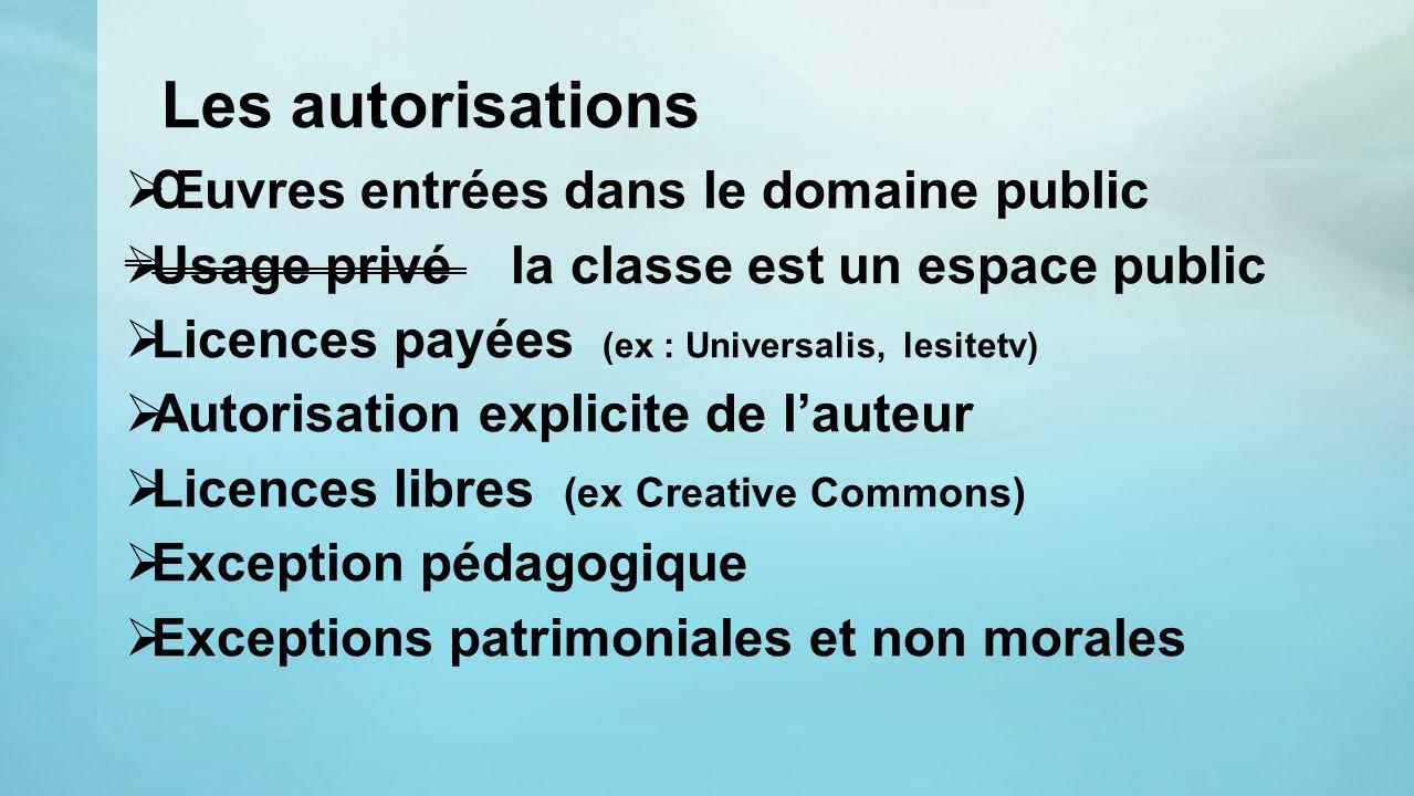 Les autorisations Œuvres entrées dans le domaine public Usage privé la classe est un espace public Licences payées (ex : Universalis, lesitetv) Autori