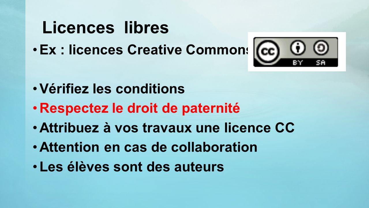 Licences libres Ex : licences Creative Commons Vérifiez les conditions Respectez le droit de paternité Attribuez à vos travaux une licence CC Attentio