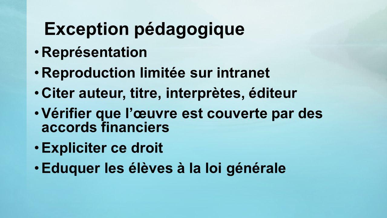 Exception pédagogique Représentation Reproduction limitée sur intranet Citer auteur, titre, interprètes, éditeur Vérifier que lœuvre est couverte par