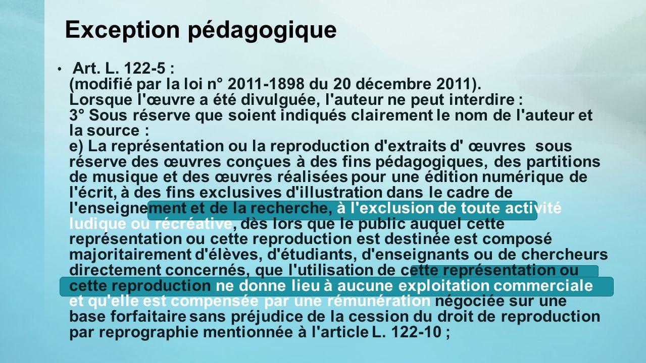 Exception pédagogique Art. L. 122-5 : (modifié par la loi n° 2011-1898 du 20 décembre 2011). Lorsque l'œuvre a été divulguée, l'auteur ne peut interdi