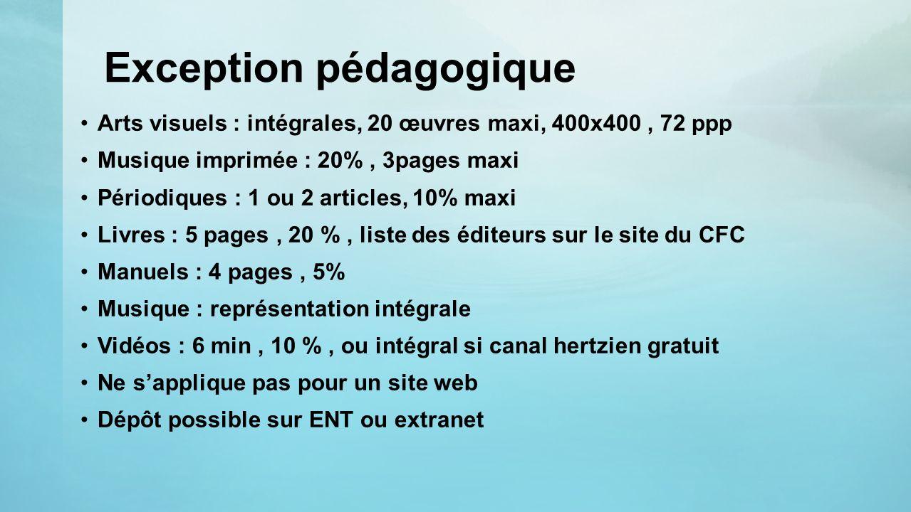 Exception pédagogique Arts visuels : intégrales, 20 œuvres maxi, 400x400, 72 ppp Musique imprimée : 20%, 3pages maxi Périodiques : 1 ou 2 articles, 10