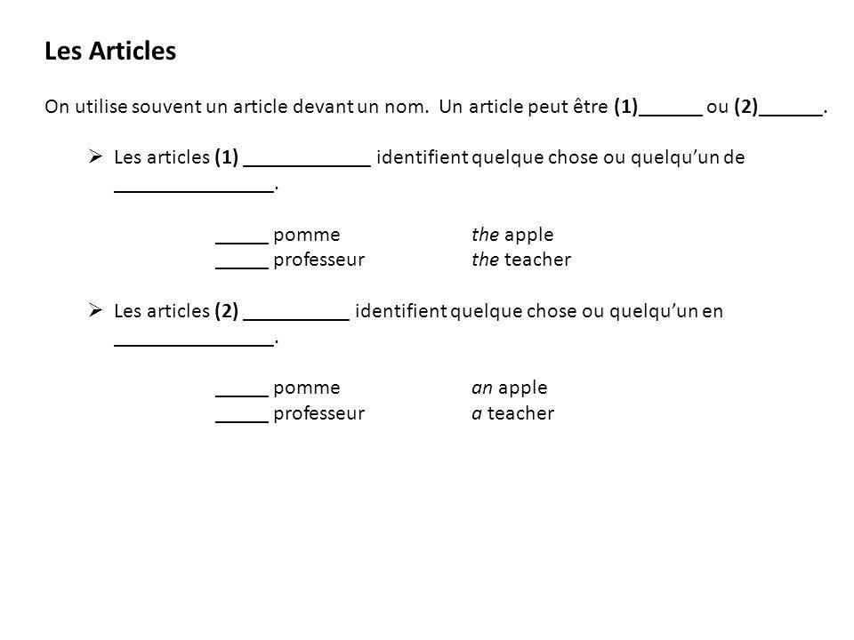 Les Articles On utilise souvent un article devant un nom. Un article peut être (1)______ ou (2)______. Les articles (1) ____________ identifient quelq