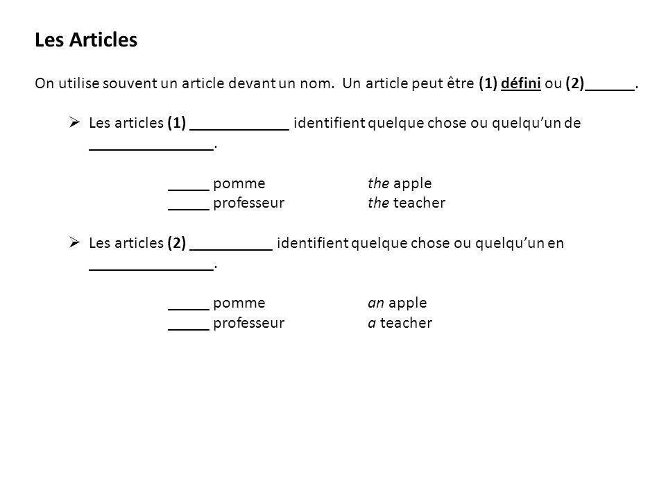 Les Articles On utilise souvent un article devant un nom. Un article peut être (1) défini ou (2)______. Les articles (1) ____________ identifient quel