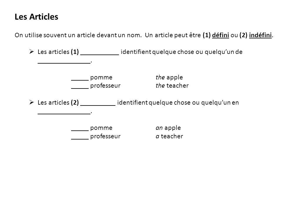 Les Articles On utilise souvent un article devant un nom. Un article peut être (1) défini ou (2) indéfini. Les articles (1) ___________ identifient qu