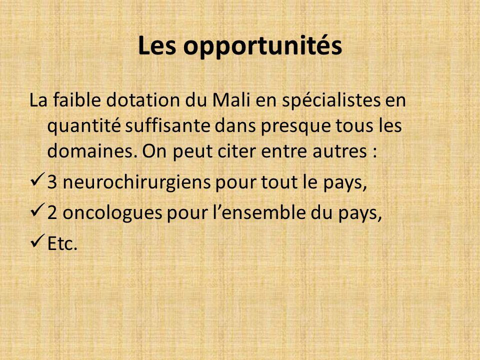 La faible dotation du Mali en spécialistes en quantité suffisante dans presque tous les domaines.