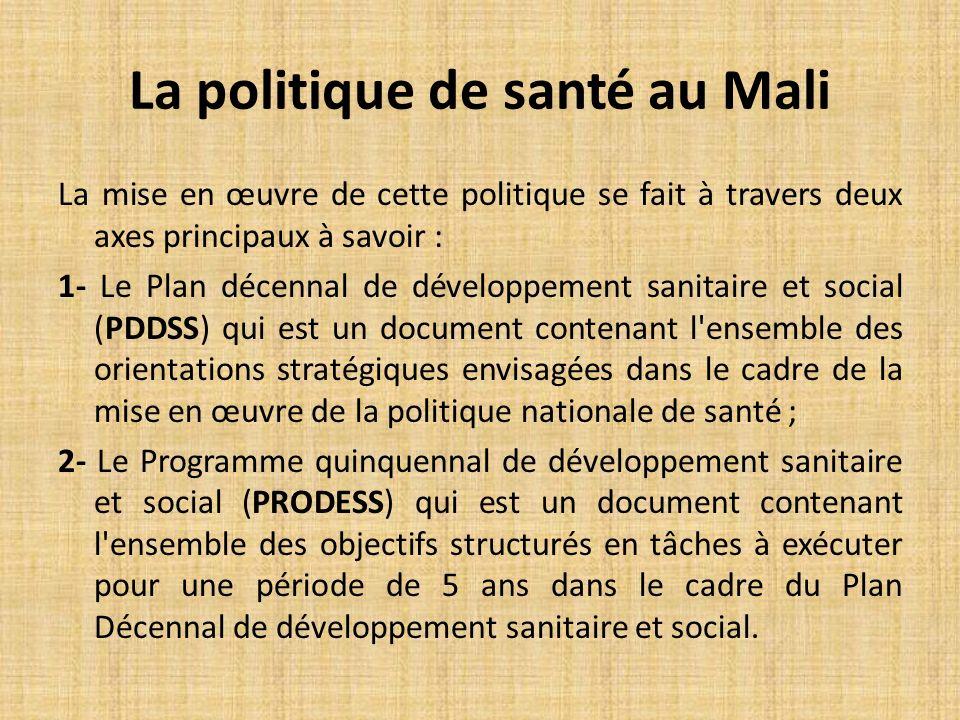 La mise en œuvre de cette politique se fait à travers deux axes principaux à savoir : 1- Le Plan décennal de développement sanitaire et social (PDDSS) qui est un document contenant l ensemble des orientations stratégiques envisagées dans le cadre de la mise en œuvre de la politique nationale de santé ; 2- Le Programme quinquennal de développement sanitaire et social (PRODESS) qui est un document contenant l ensemble des objectifs structurés en tâches à exécuter pour une période de 5 ans dans le cadre du Plan Décennal de développement sanitaire et social.