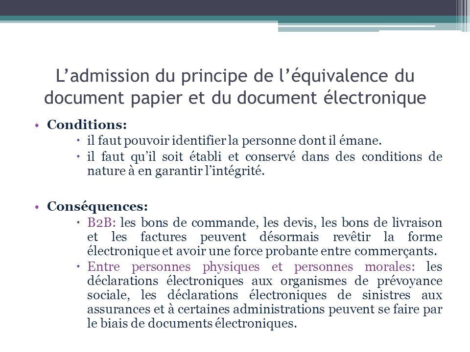 Ladmission du principe de léquivalence du document papier et du document électronique Conditions: il faut pouvoir identifier la personne dont il émane