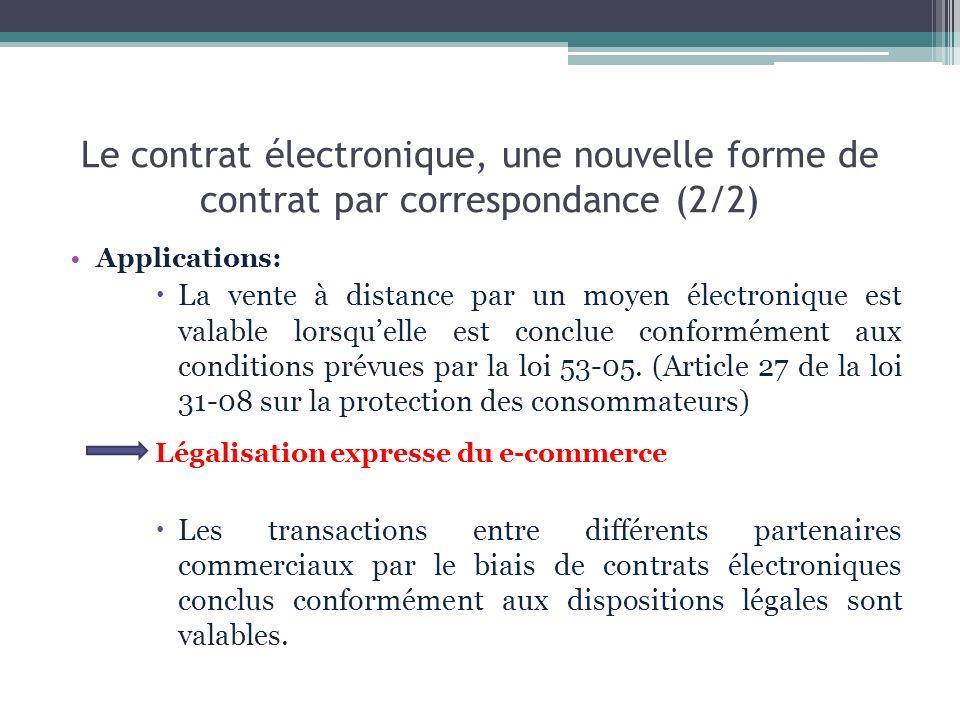 Le contrat électronique, une nouvelle forme de contrat par correspondance (2/2) Applications: La vente à distance par un moyen électronique est valabl